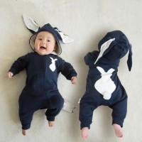 Navy Bunny Jumpsuit Newborn (Baju Bayi lucu karakter binatang)