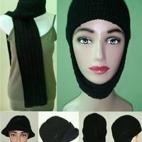 syal rajut winter paket topi untuk pria wanita