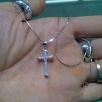 Kalung+Liontin Dewasa Perak/Silver925 Asli Lapis Emas Putih Salib