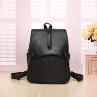 tas hitam gemblok sederhana kuat fashion premium wanita ransel backpag