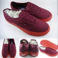 Sepatu Kets Vans Authentic Canvas Pop Lite Maroon Sole Red Marun Merah