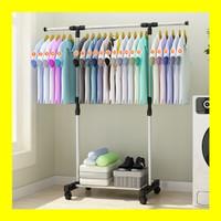 Standing Hanger Stand Single Rak Gantungan Baju Serbaguna dg 4 Roda