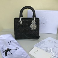 Tas Dior Lady Classic Medium Cannage Lambskin Hitam Mirror 2018