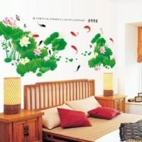 wall sticker 2x60x90/wall stiker transparan- AM9029-FISH N LOTUS
