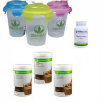 Shake Herbalife/TOSERASERA Herbalifee--( 3 COKLAT+1 FIBER+1 GELAS )