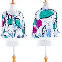IMPORT Cardigan Jacket Jaket Wanita Bomber Flower White 3/4 SLeeve