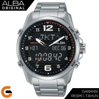 Alba Dual Time Digital Analog Jam Tangan Pria Tali Stainless AZ4038x1