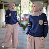 Baju Terusan Muslim Hijab Koko Wanita 1 Set Untuk Hari Raya - Navy