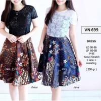 Jual SEVN699 - DRESS PESTA BATIK MODERN DRESS KANTOR ETNIK FLARE LACE MIDI Murah