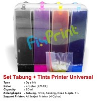 Tabung Infus + Tinta Refill 80ml Support Printer CANON, EPSON, BROTHER
