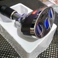 Car USB Charger 5V 3.4 A / 3 Hole Cigarette Lighter / LED - Abu-abu