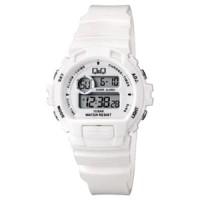 Jam Tangan Wanita Cewek Q&Q QQ Digital M153J005Y Alarm Chrono Putih