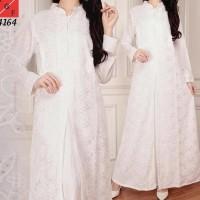Baju Gamis Wanita / Gamis Jumbo / Muslim Putih #4164 JMB