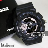 Jam Casio G-Shock & Baby-G GA-110 Black Rose Gold Single/Couple
