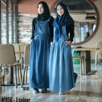 gamis overall jeans rok panjang setelan hijab tanpa inner allsize