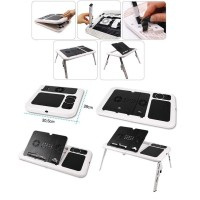 Meja Laptop Lipat + Kipas Black / White