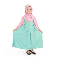 Baju Muslim Gamis Anak Perempuan Jersey Murah - Mint Peach