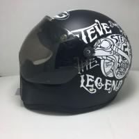 Helm Cakil Visor Steve Legend Black Doff / Helm Cakil HBC Murah / Helm