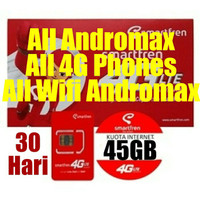 Perdana Smartfren 4G Kuota 45GB Semua HP dan Modem Andromax dan HP 4G