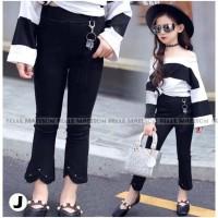 Setelan anak cewek kekinian sabrina stripe hitam putih celana panjang