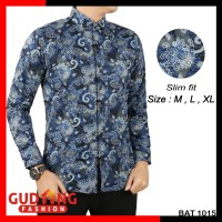 Jual Baju Batik Pria Lengan Panjang Slim Fit BAT 1015 Murah