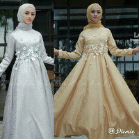 open PO Gamis Pesta Layla Jacquard Grey Gold Maxi Gown fnd labels