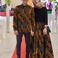 couple kaftan / gamis kalina batik nevada pesta + kemeja