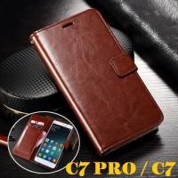 Samsung Galaxy C7 PRO / C7 Leather Case Casing Kulit Flip Wallet Cover