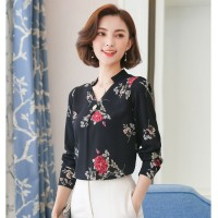 Baju Atasan Blouse Tunik 2 Black Peony Flower (XL) Import Original