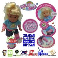 Mainan Boneka Lulu Aku Sepatu Roda  Bisa Jalan Musik Frozen Lampu SNI