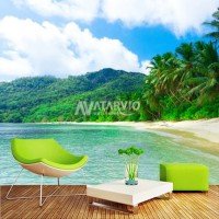 Wallpaper Custom Murah - Wallpaper Dinding Custom Printing pantai 3d