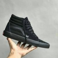 sepatu full black vans sk8 high cowok casual premium keren hitam 70s