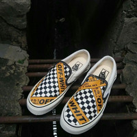OFF WHITE X Vans Slip On Premium Original / Sepatu Sneakers Kets