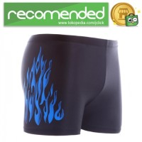 Celana Renang Pria Motif Api Swimming Trunk Pants All Size - All Size