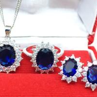 Set Perhiasan Kalung Anting Cincin Silver Berlian Batu Biru - BR0029