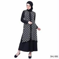terbaru Baju Muslim Wanita Bahan Jersey Polkadot Hitam Putih