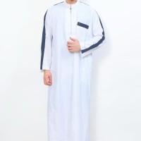 DRESS WANITA Jubah Muslim Gamis Pria Al-Aqsa Putih List Abu tua