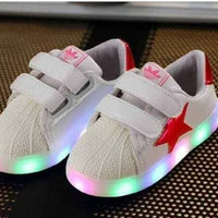 Led Star Red Glossy sz 31-35 Sepatu Anak Lampu Bintang Logo Adidas