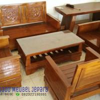 kursi tamu minimalis jati (bofet,nakas, kursi,rak, ruang tamu,meja)