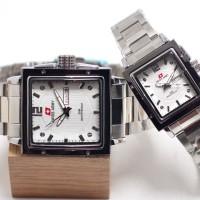 jam tangan SWISS ARMY COUPLE KOTAK TANGGAL HARI RANTAI STAINLES