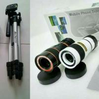 Jual Paket Lensa Telezoom Tripod 1 Meter Tele Zoom 8x For HP Smartphone Murah