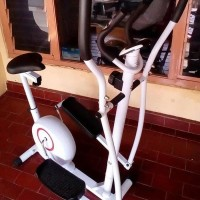 Alat fitness eliptical bike 2 in 1 hand pulse