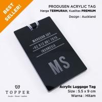 Auckland Hitam Acrylic Luggage Tag / Bag Tag / Bisa Custom