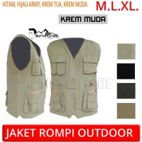 jaket rompi army outdoor hitam (motor, mancing, safety, militer,