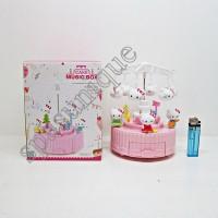 MUSIC BOX HK CAKE / KOTAK MUSIK HELLO KITTY GANTUNGAN AYUNAN PINK