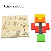Mainan Kayu Tetris Permainan Jigsaw Puzzle Anak-Anak