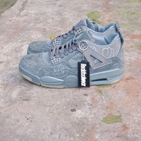 24a99dc9d148 Sepatu Nike Air Jordan IV X Kaws Grey Suede Unauthorized Authentic