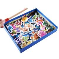 Mainan Pancingan Kayu Ikan Permainan Memancing Magnetik