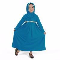 New Baju Muslim Gamis Anak Perempuan Warna Biru Muda Lucu