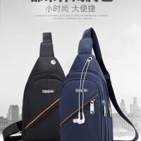 Bodypack pria - Sling bag Tas selempang nylon-ada lubang earphone SK02